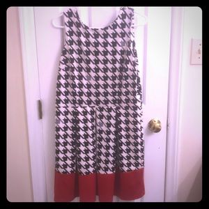 Houndstooth Black & White with Red A-line Dress
